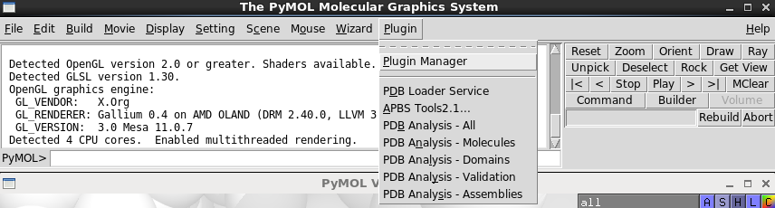 Screenshot of the PyMOL plugin menu with the PDB plugin installed